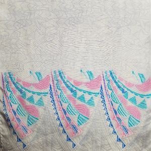 ⚘ Vintage 100% silk oblong scarf blue gray pink